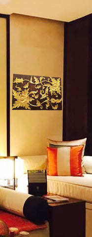 "Asian Wood Wall Art Panel. Gold Flower Relief Wood Carved Wall Hanging. 24""x36"" Dark Brown and Gold"