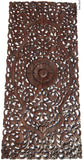 "Headboard Floral Tropical Carved Wood Wall Panel. Balinese Wall Sculpture Panel. Size 27""x60"" Dark Brown"