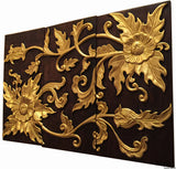 "Clearance Asian Wood Wall Art Panel. Gold Flower Relief Wood Carved Wall Hanging. 24""x36"" Dark Brown and Gold"