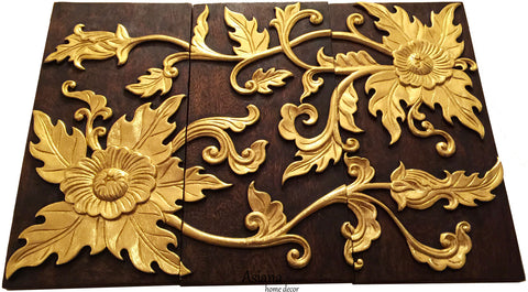 Gold Flower Relief Wood Carved Wall Hanging