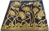 "Asian Wood Carved Wall Art Panels. Flying Bird and Lotus flower Relief Wood Carved Wall Hanging. 36"" Dark Brown and Gold"