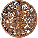 "Round Ganesha Buddha with Lotus Carved Wood Wall Art Decor. Brown Finish 24"" Extra Thick"