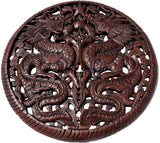 "Round Chinese Lucky Dragon Carved Wood Wall Art Brown Finish. 24"" Extra Thick"