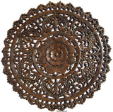 "Elegant Medallion Wood Carved Wall Plaque. Large Round Wood Carving Sacred Fig Leaf Wall Decor Panel. Rustic Home Decor. Available Size 36"" and 48"" Color Options Available"