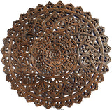 "Elegant Medallion Wood Carved Wall Plaque. Large Round Lotus Wood Carving Wall Decor Panel. Asian Rustic Home Decor Available Size 36"" and 48"" Color Options Available"