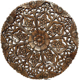 "Oriental Round Carved Wood Wall Decor Lotus flower. Decorative Floral Wall Plaques. Rustic Home Decor. 24"" Color Options Available"