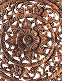 "Oriental Tropical Flower Round Carved Wood Wall Decor. Rustic Home Decor. 24"" Dark Brown"