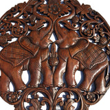 Clearance Round Carved Wood Elephant Love sign Wall Decor. Tropical Home Decor. Wall Relief Panel Sculpture. 24""