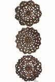 "Wood Plaque Oriental Carved Lotus. Rustic Wall Decor. Set of 3. Size12"" Optional Designs"