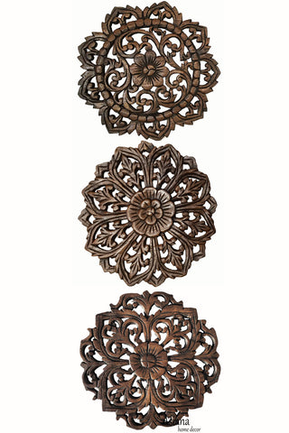 Wood Plaque Oriental Carved Lotus. Rustic Wall Decor. Hand Carved Wall Art Decor Panel. Thai Decorative Wood Panels. Set of 3. Round 12""