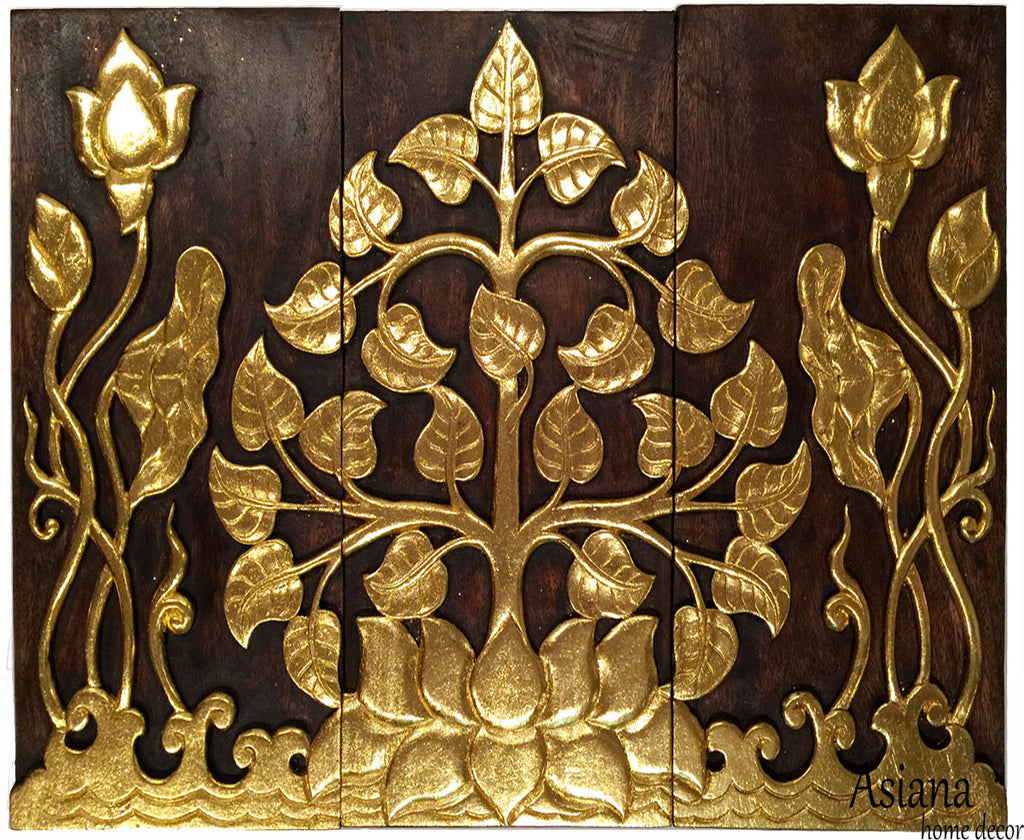 Asian Wood Sacred Fig Tree And Lotus Flower Relief Wall Art Panels Elegant Gold Leaf Wood Carved Wall Plaque Dark Brown And Gold Size Options