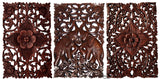 "Set of 3. Wood Carved Panels Lucky Elephant and Floral. Teak Wood Wall Hanging. 12""x17.5"" Dark Brown"
