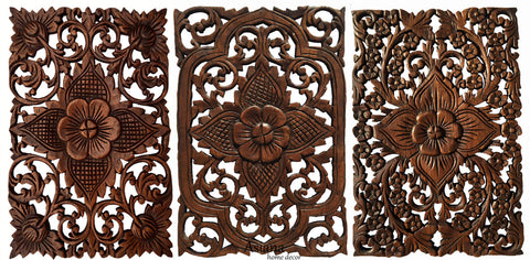 "Wood Wall Decor Lotus flower. Multi Panels Asian Home Decor. Decorative Thai Wall Relief Sculpture. 17.5""x12.5"" Set of 3 Brown"