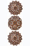 Set of 3 small round carved wood wall art