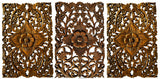 Small floral wood plaques set of 3 brown
