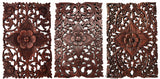 Small floral wood plaques set of 3 dark brown