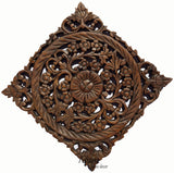 "Rustic Home Decor Wood Plaque. Oriental Carved Lotus Home Decor. Decorative Thai Wall Relief Panel Sculpture. Teak Wood Wall Hanging. Brown Size 12"" Square"