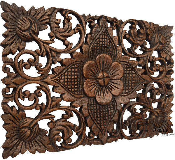 Asian Home Decor. Elegant Wood Carved Wall Plaques