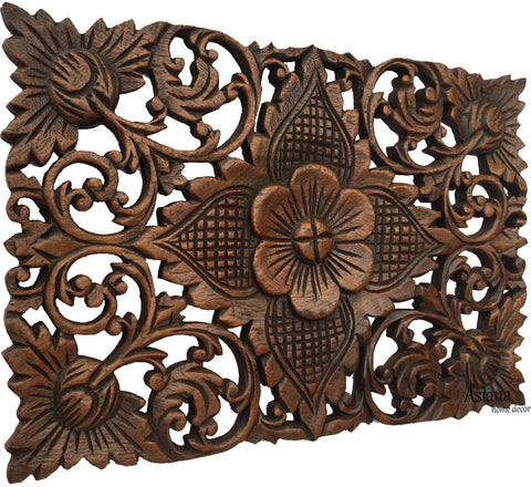 wood wall decor lotus floweroriental home decor decorative wall panel sculpture hand