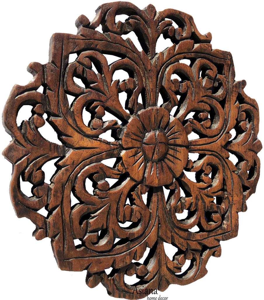 Small Round Carved Wood Floral Wall Plaque. Decorative Tropcial Rustic Wood Wall Decor. Dark Brown. Size 12""
