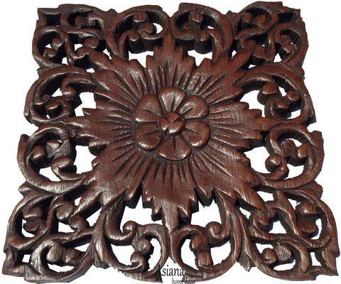 "Wood Carved Wall Plaque. Rustic Wood Wall Decor. Hand Carved Wall Hangings. Decorative Wood Panels. Dark Brown Finish Size 9.5"" Square"