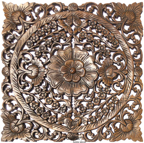 Clearance Oriental Home Decor. Square Floral Wood Wall Hanging. Brown 24""