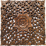 Lotus Flower Chain Rustic Square Carved Wood Wall Decor. Brown Finish, 17.5""