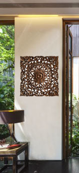 24 Oriental Floral Carved Teak Wood Wall Art Plaque Square Rustic Home Decor