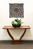 "Oriental Home Decor. Rustic Floral Wood Carved Wall Hanging. 24"" Available in Dark Brown, Black Wash"