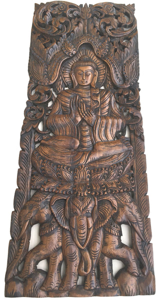 Large carved wood panel buddha wall art