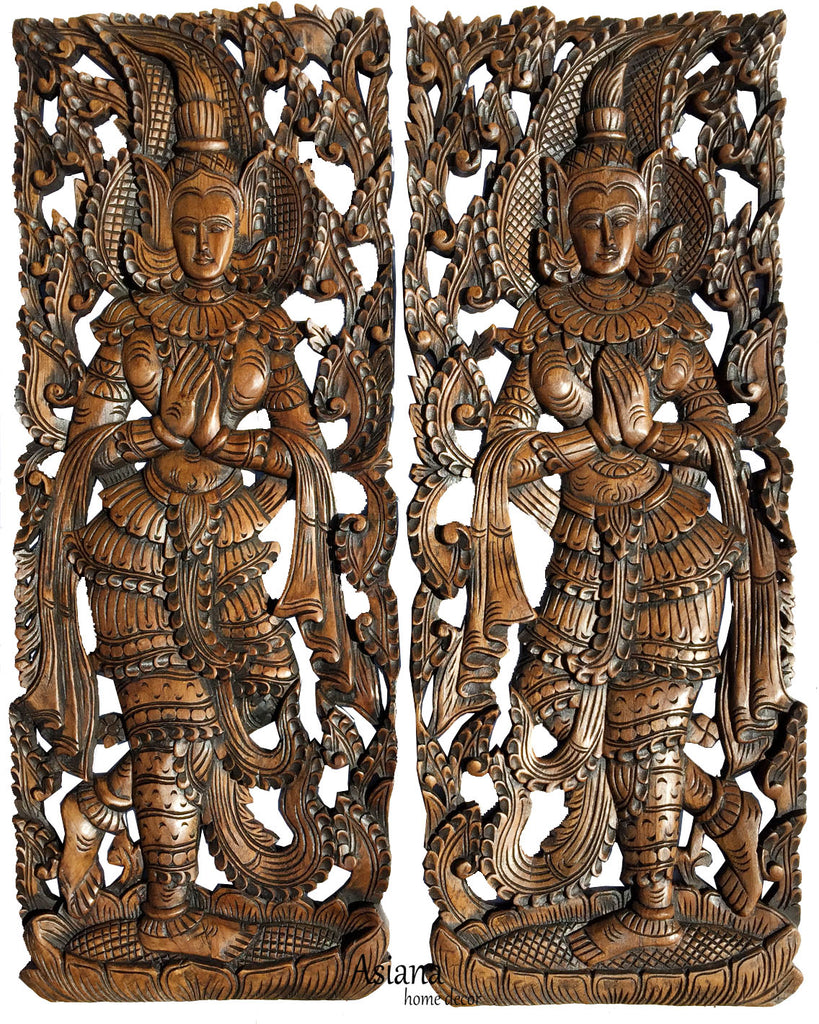 Traditional Thai Sawaddee Figure Wall Art Panels Asian Home Decor Decorative Thai Wood Carving Carved Wall Decor Brown 35 5 X13 5 X1 Each Set