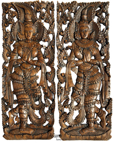 "Traditional Thai Sawaddee Figure Wall Art Panels. Asian Home Decor. Decorative Thai Wood Carving. Carved Wall Decor. Brown. 35.5""x13.5""x1"" Each, Set of 2 pcs"