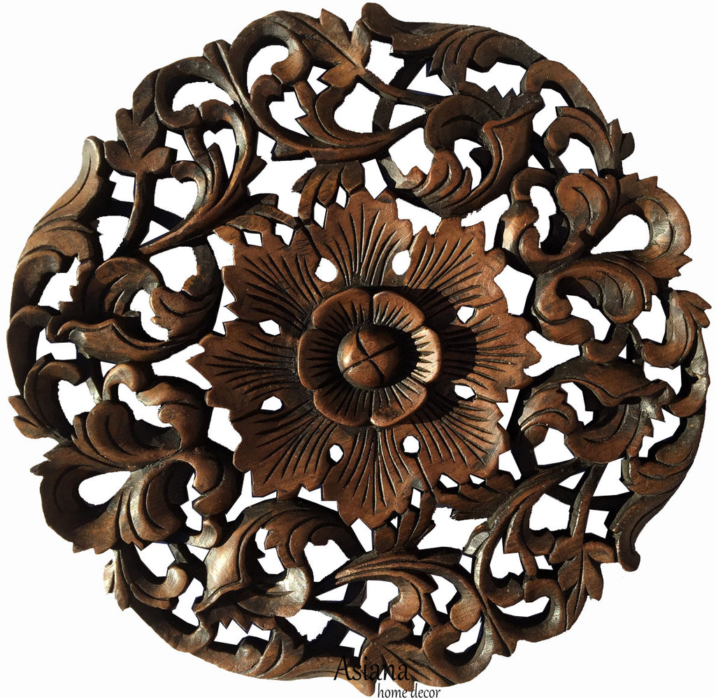"Tropical Floral Carved Wood Round Plaque. Decorative Teak Wood Wall Hanging. Rustic Wall Decor. Dark Brown Finish Size 17.5""x17.5""x1"""