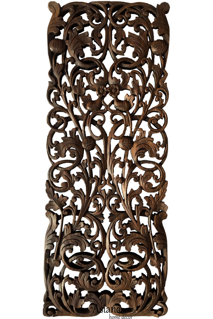 Floral Tropical Carved Wood Wall Art Panel Rustic Home Decor Teak Wood Headboard 35 5 X13 5 Extra Thick Dark Brown