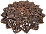 "Oriental Round Carved Wood Water Lilly Wall Decor. Dark Brown 24"" Extra Thick"
