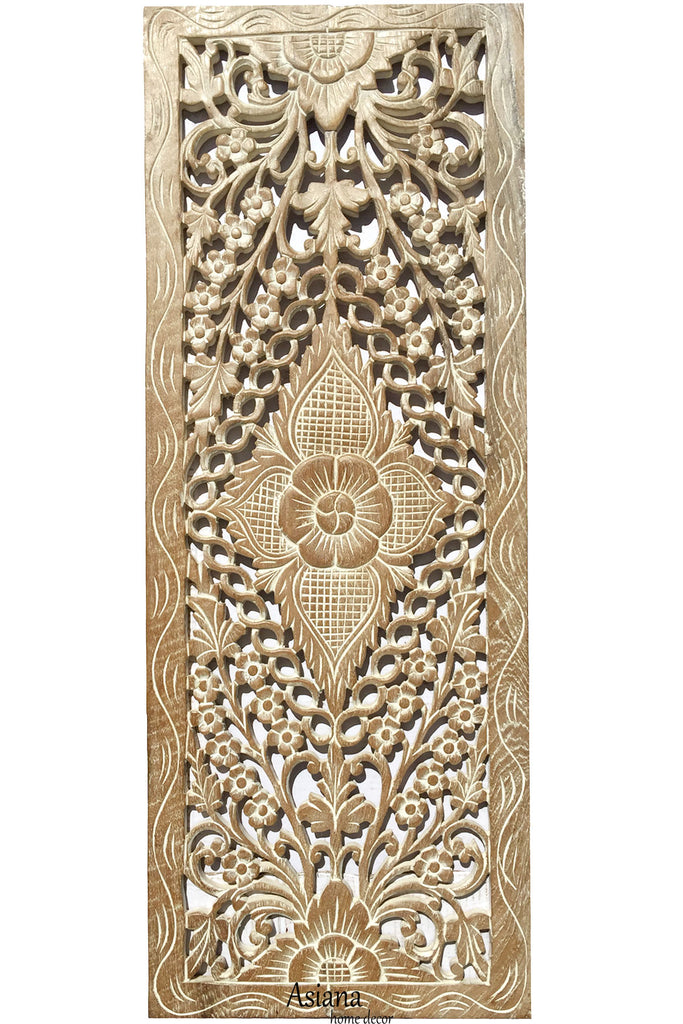 "Floral Wood Carved Wall Panel. Wall Hanging. Asian Home Decor. Decorative Contemporary Wall Decor. Wall Relief Panel Sculpture. Large Wood Wall Plaque 35.5""x13.5""x0.5"" Available in Brown, Black Wash and White Wash"