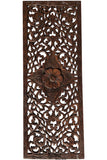 Floral Tropical Wood Carved Wall Art Panel. Color Options Available