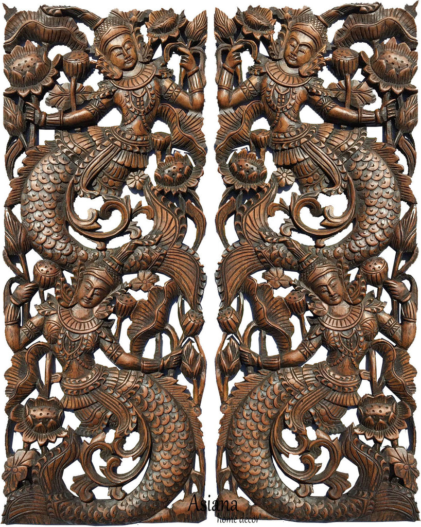 asian carved wood wall art decoration asiana home decor
