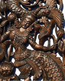 "Thai Figure Mermaid Asian Home Decor Carved wood wall art panels. Wall Art. Brown Finish 35.5""x13.5""x1"" Each, Set of 2 pcs"