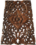 "Wood Wall Decor Lotus flower.Oriental Home Decor. Decorative Wall Panel Sculpture. Teak Wood Wall Hanging. Hand Carved Wall Art Decor Panel. Rustic Wall Decor. Tropical Home Idea Decor. Living Room Wall Decor. Brown Finish 12""x17.5""x0.5"""
