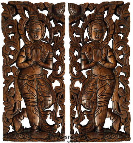 "Oriental Wood Wall Decor. Sawaddee Wall Sculpture. Carved Wood Wall Art.  Decorative Thai Wood Carving Wall Art. Floral Wood Wall Carving Decor. Size 17.5""x7.5""x1"" Each, Set of 2 pcs."