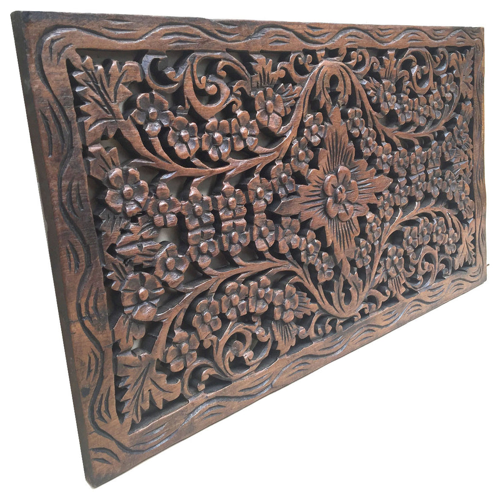 "Wood Carved Panel. Decorative Thai Wall Relief Panel Sculpture.Teak Wood Wall Hanging in Dark Brown Finish Size 24""x13.5""x0.5"""