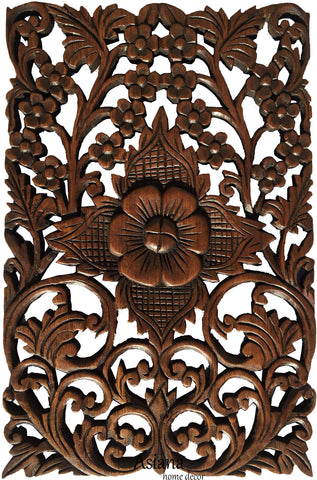 "Wood Wall Decor Tropical Floral Wall Art. Oriental Home Decor. Decorative Wall Panel Sculpture. Teak Wood Wall Hanging. Hand Carved Wall Art Decor Panel. Brown Finish 12""x17.5""x0.5"""