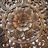 "Elegant Wood Carved Wall Plaque. Wood Carved Floral Wall Art. Asian Home Decor Wall Art Panels. Baliness Home Decor. Available Size 36"" and 48"" Color Options Available"