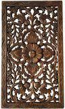 "Wood Carved Wall Art. Asian Rustic Home Decor. Teak Wood Panel. Dark Brown Finish Size 24""x13.5""x0.5"""
