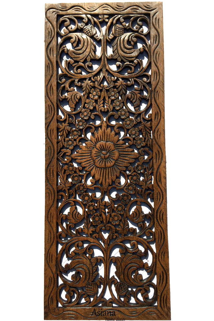 Charmant Floral Wood Carved Wall Panel Decoration. Asian Home Decor Wall Hanging.  Large Wood Wall