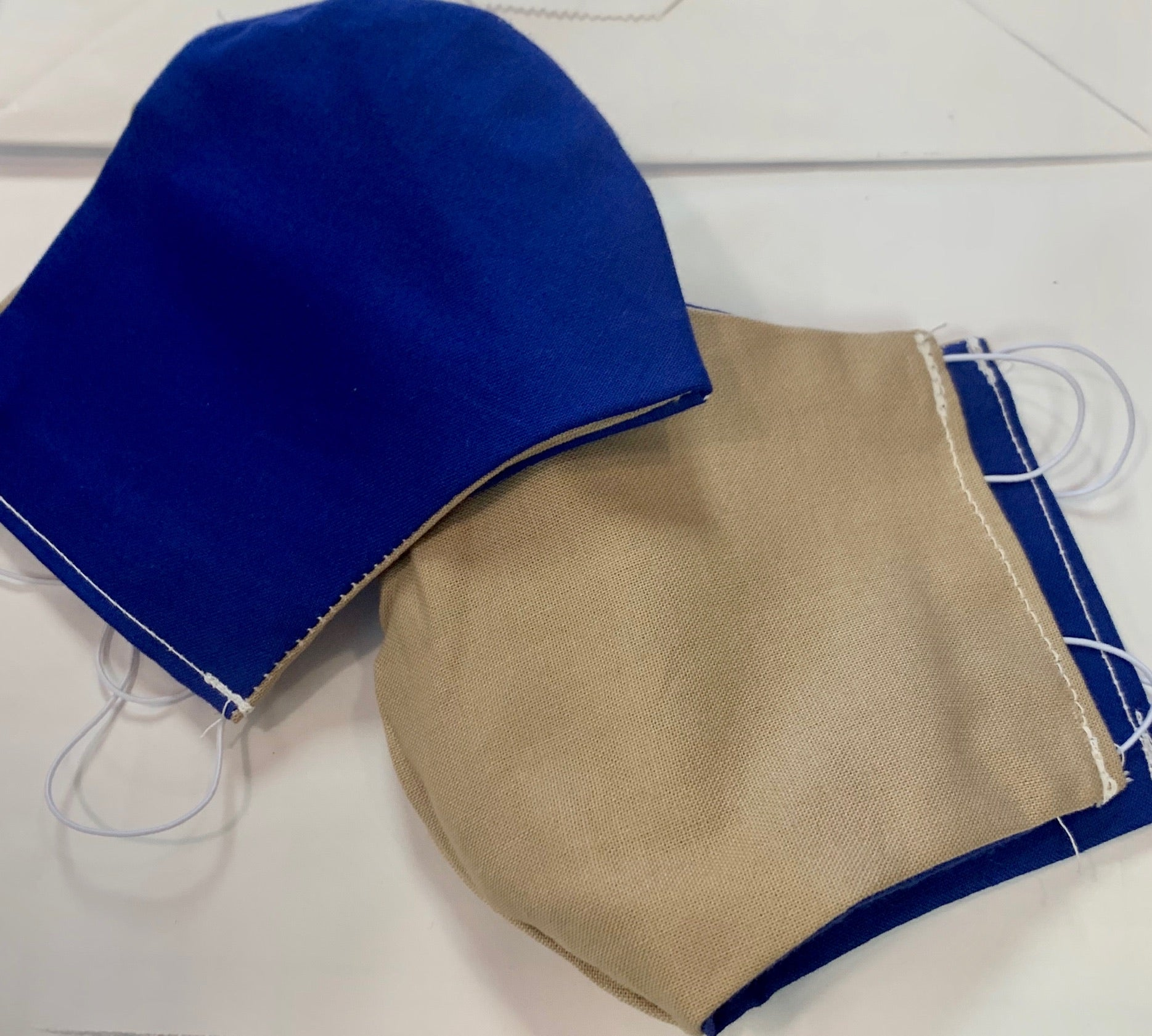 Ladies Blue on One Side & Khaki on Other Side Reversible Mask