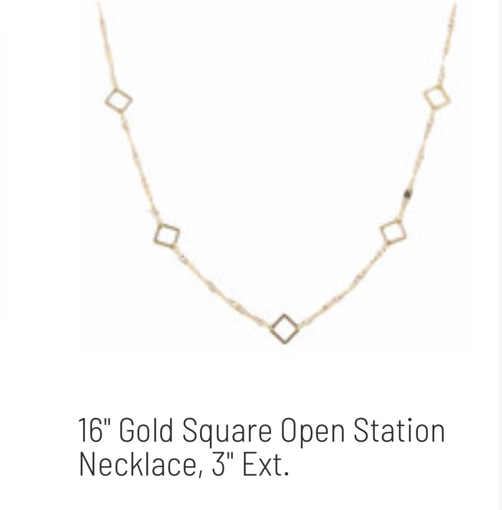 Jane Marie Gold Squares Short Necklace