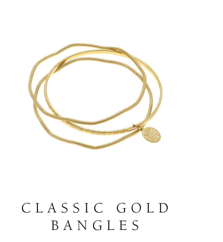 Susan Shaw 24kt Gold Plated Set of Three Hand-cast Skinny Bangles