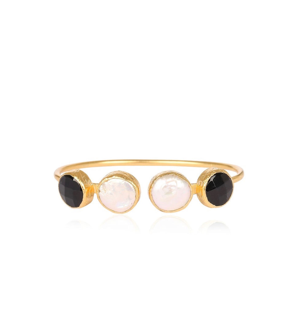 4 Stone Mother of Pearl & Onyx Gold Plated Handmade Open Bangle